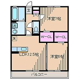 メゾンアムール壱番館[1階]の間取り