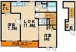 ハーモニースクエア Ⅱ[2階]の間取り