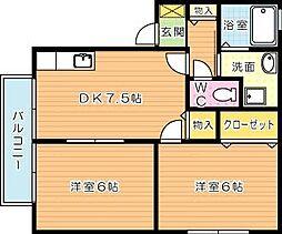 ハイツ上の原[2階]の間取り