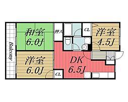 千葉県千葉市若葉区みつわ台5丁目の賃貸マンションの間取り