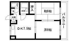 カサベージュ愛宕山EAST[202号室]の間取り