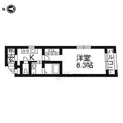 ベラジオ京都東山304 3階1Kの間取り