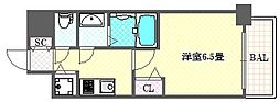 アドバンス大阪バレンシア 12階1Kの間取り