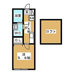 六ッ川新築アパート 2階1Kの間取り