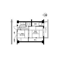 ビレッジハウス春木2号棟2階Fの間取り画像