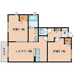 JR関西本線 木津駅 徒歩17分の賃貸アパート 1階2LDKの間取り