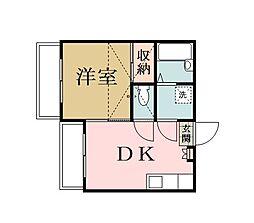 埼玉県草加市北谷2丁目の賃貸アパートの間取り