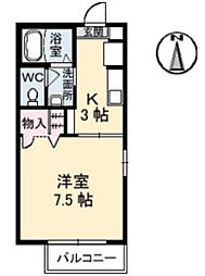 高知県高知市比島町1丁目の賃貸アパートの間取り