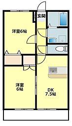 サニーコートOOKAWARA A[202号室]の間取り