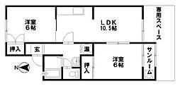 セジュールMURAMOTO[103号室]の間取り