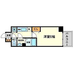 プレサンス新大阪コアシティ 5階1Kの間取り