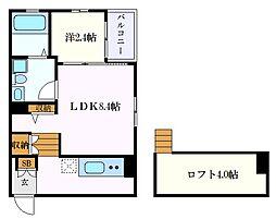 JR東海道本線 名古屋駅 徒歩8分の賃貸アパート 2階1LDKの間取り