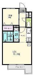 JR仙石線 陸前原ノ町駅 徒歩7分の賃貸アパート 4階1LDKの間取り