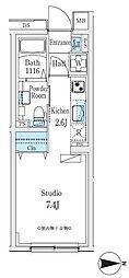 東急池上線 旗の台駅 徒歩10分の賃貸マンション 2階ワンルームの間取り