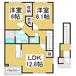 JR大糸線 信濃松川駅 徒歩10分の賃貸アパート 2階2LDKの間取り