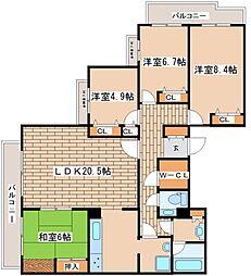 兵庫県神戸市東灘区西岡本6丁目の賃貸マンションの間取り