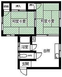 天野アパート[2F号室]の間取り