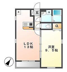 愛知県名古屋市北区山田2丁目の賃貸アパートの間取り