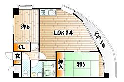 ライフハウス城野駅東[6階]の間取り