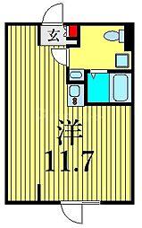 JR山手線 鶯谷駅 徒歩6分の賃貸マンション 1階ワンルームの間取り