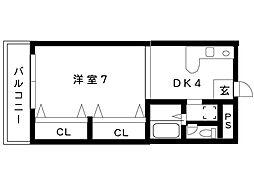 リッジヴィラ魚崎[504号室]の間取り