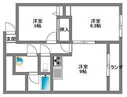 神奈川県川崎市麻生区下麻生2丁目の賃貸マンションの間取り