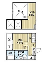 愛知県名古屋市西区児玉3丁目の賃貸アパートの間取り