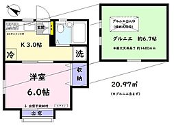 CASA(カーサ)千川 2階1Kの間取り