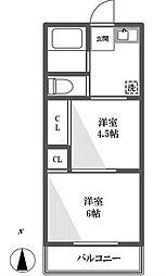 千葉県鎌ケ谷市道野辺本町2丁目の賃貸アパートの間取り