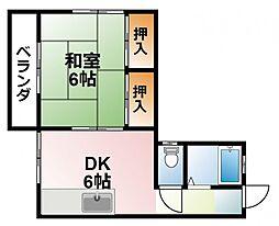 千葉県大網白里市大竹の賃貸アパートの間取り