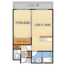 (仮)T様共同住宅(302) 3階1LDKの間取り