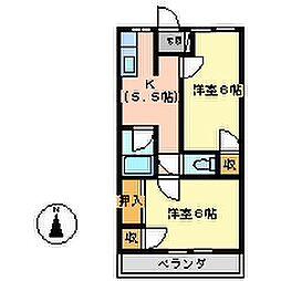 田中ハイツ南[202号室号室]の間取り