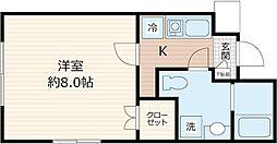 JR京浜東北・根岸線 川崎駅 徒歩7分の賃貸マンション 1階1Kの間取り