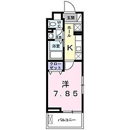 Casa takahama 3階1Kの間取り