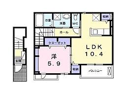 ランドスカイ 2階1LDKの間取り