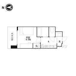 キャンパスヴィレッジ京都伏見 4階ワンルームの間取り