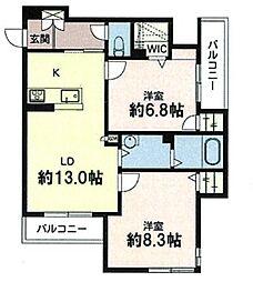 兵庫県神戸市垂水区日向2丁目の賃貸アパートの間取り