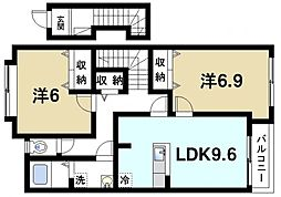 近鉄天理線 天理駅 バス6分 櫟本下車 徒歩4分の賃貸アパート 2階2DKの間取り