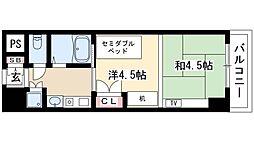 プログレンス栄 4階1Kの間取り