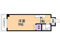 コーポハシモト 9階1Kの間取り