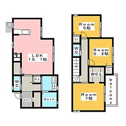 [一戸建] 愛知県安城市住吉町3丁目 の賃貸【/】の間取り