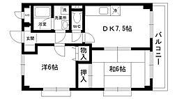 デアベルク夙川[303号室]の間取り