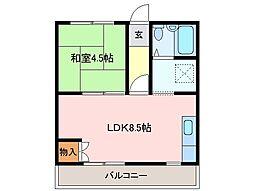 三重県松阪市安楽町の賃貸アパートの間取り