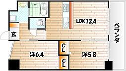 ウィングス三萩[5階]の間取り