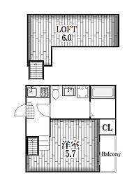 HUMMING LIFE新栄[2階]の間取り