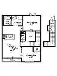 (仮称)石川町新築アパート[2階]の間取り
