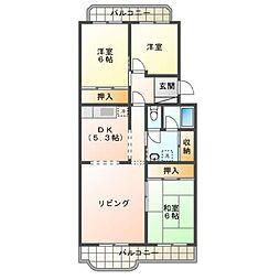 京成サンコーポ三山[2階]の間取り