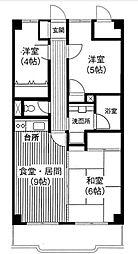 ガーデンパレス華[6階]の間取り