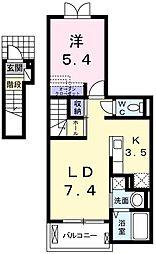 東京都羽村市羽加美1丁目の賃貸アパートの間取り