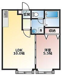 レアルコンシェルト 1階1LDKの間取り